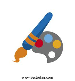 paint brush and palette school supply icon