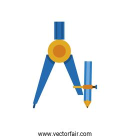 blue compass school supply isolated icon