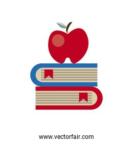 text books school supply and apple flat style icon