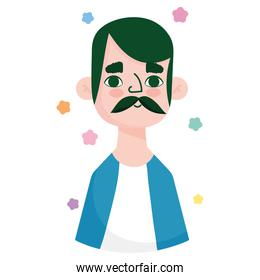 man mature with moustache character avatar in cartoon