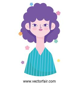 woman with curly hair portrait character avatar in cartoon