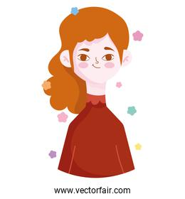 funny young woman portrait character avatar in cartoon