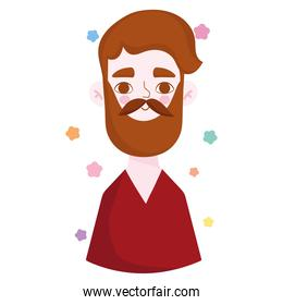 bearded man with mustache portrait character avatar in cartoon