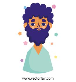 afro american man with beard character avatar in cartoon