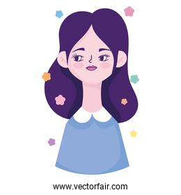 cute woman young profile character avatar in cartoon
