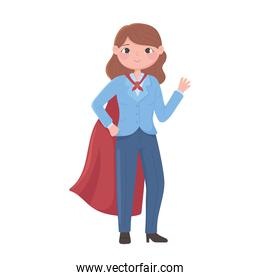 superwoman in formal office suit and cloak
