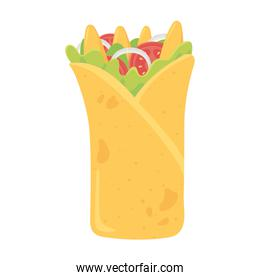 fast food, mexican burrito with vegetable and nachos icon isolated design