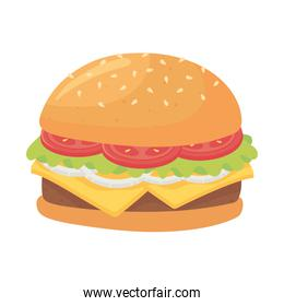 fast food, delicious hamburger with tomato cheese and onion icon isolated design