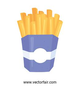 fast food, french fries in box icon isolated design
