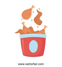 fast food, roasted chicken in bucket icon isolated design