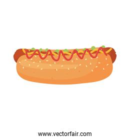 fast food, hot dog with sauces icon isolated design