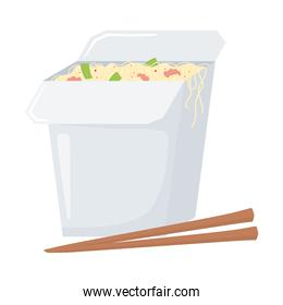 fast food, chinese noodles with chopsticks icon isolated design