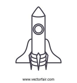 rocket icon over a white background