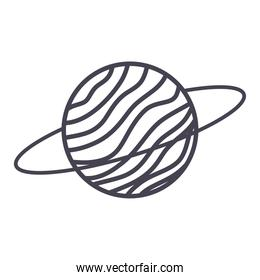planet saturn on white background