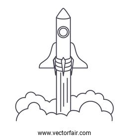spaceship launch icon in a white background