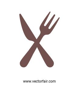 crossed knife and fork on white background