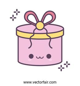 gift box smiling of pink color