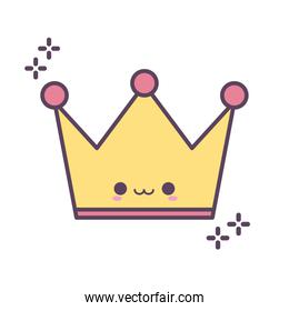crown smiling with sparks on white background