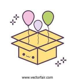 box smiling with balloons coming out of it