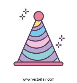 colored birthday hat on white background