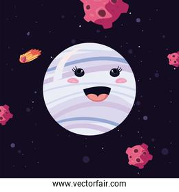 white kawaii planet with asteroids vector design