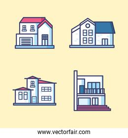 house line and fill style symbol set vector design