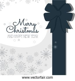merry christmas gift bow and snowflakes vector design