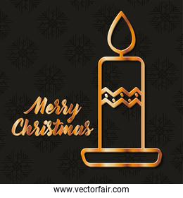 merry christmas gold candle vector design