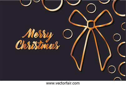 merry christmas gift bow and spheres vector design