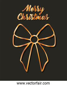 merry christmas gift bow gold vector design