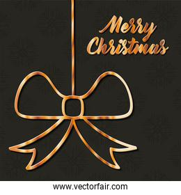 merry christmas gift bow hanging vector design