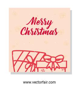 merry christmas gifts on card line style icon vector design