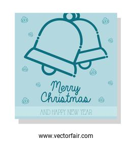 merry christmas bells and spheres line style icon vector design