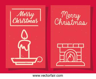 merry christmas candle and chimney line style icon vector design