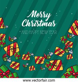 merry christmas green and yellow gifts flat style icon vector design