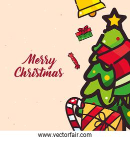 merry christmas pine tree with gift and candy flat style icon vector design