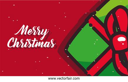 merry christmas green gift flat style icon vector design