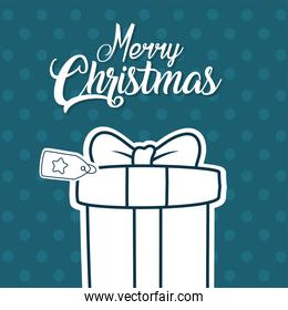 merry christmas gift on pointed background vector design