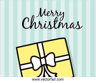 merry christmas gift on striped background vector design