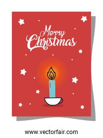 merry christmas candle on card vector design