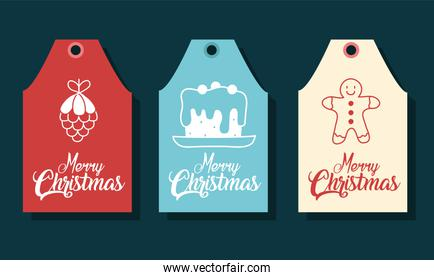 merry christmas labels with pinecone cake and gingerbread vector design