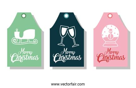 merry christmas labels with sled cups and snowman vector design
