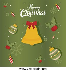 merry christmas bell with bow and spheres vector design