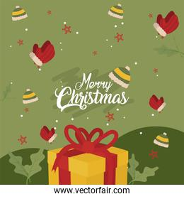 merry christmas gift with gloves and hats vector design