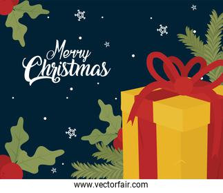 merry christmas gift with leaves vector design