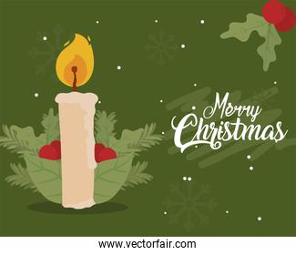 merry christmas candle with berries and leaves vector design