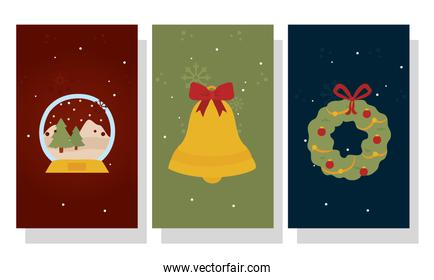 merry christmas pine trees sphere bell and crown vector design