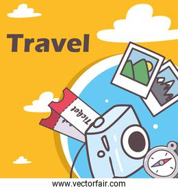 travel camera compass and tickets vector design