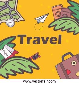 travel map bag and passports with leaves vector design