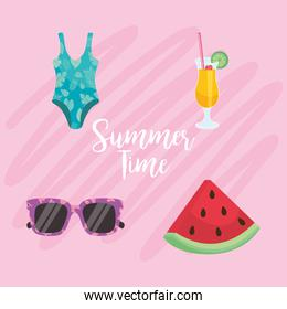 Summer time icon set on pink background vector design